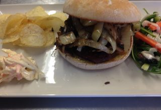 Borewell Burger with onions